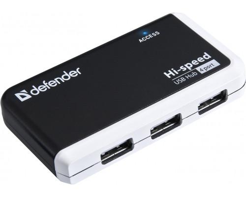 Коммутатор Defender Quadro Infix, USB 2.0, 4 портовый, 0.18 м, Чёрный