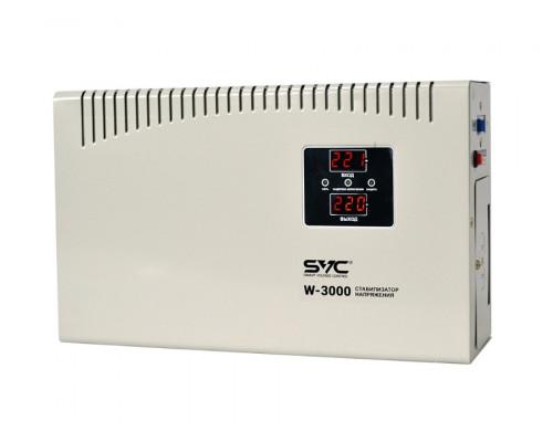 Стабилизатор SVC, W-3000,3000Вт, LED- дисплей, 45-65Гц, Индикация режимов работы, Диапазон:140-260В,