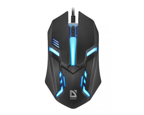 Мышь Defender, Сyber MB-560L, 1200 dpi, 7 цветов подсветки, USB, Оптическая, Черный