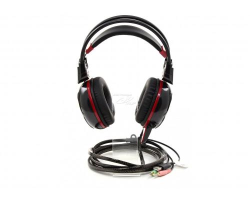 Наушники Bloody, G300, mini jack 3.5 mm x2, Мониторные, 2 м, Микрофон фиксированный, Черно-красный