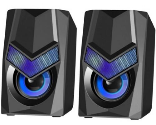 Акустическая система Defender, Solar 1, 2.0, Стерео, 6W, Пластик, подсветка, питание от USB, Черный