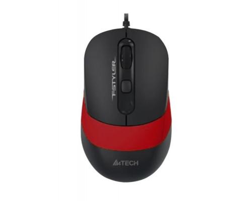 Мышь A4 Tech, FM-10-Fstyler, 1600 dpi, Оптическая, 1.5m, Чёрно-красная