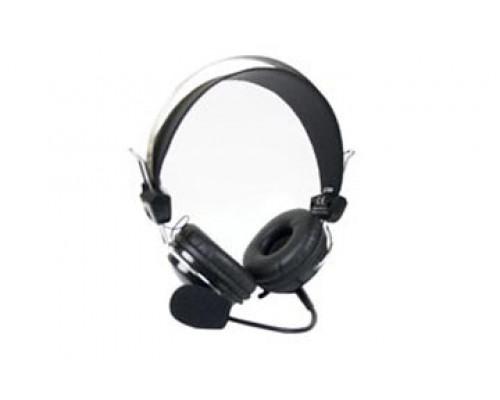 Наушники A4 Tech, HS-7P, mini jack 3.5 mm x2, Мониторные, 2 м, Микрофон подвижный, Черный