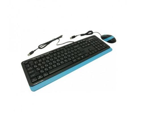 Клавиатура + Мышь A4 Tech, F1010-BLUE Fstyler, USB, Анг, Рус, Каз, Оптическая Мышь, Чёрно-синяя