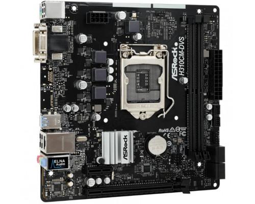 Мат. плата Asrock H310CM-DVS, S-1151v2, Intel H310, 2 DDR4, 4 SATA3, 4 USB 3.1, 6 USB 2.0, DVI, D-Sub, 1xP