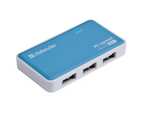 Коммутатор Defender Quadro Power, USB 2.0, 4 портовый, Бело-голубой