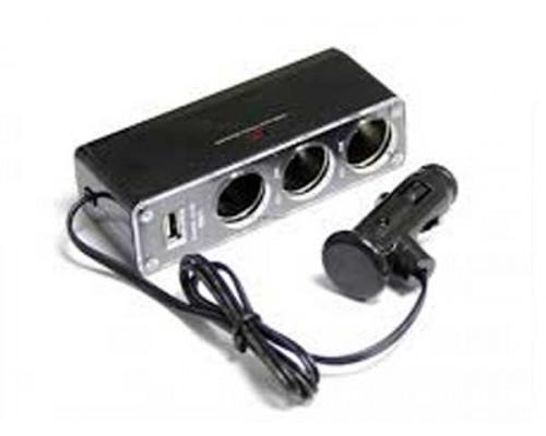 Автомобильное Зарядное Устройство WF-0096 раб .от прикуривателя 3 гнезда + USB выход 5V