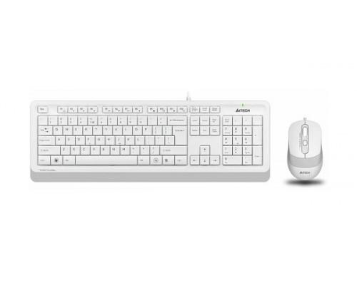 Клавиатура + Мышь A4 Tech, F1010-WHITE Fstyler, USB, Анг/Рус/Каз, Оптическая Мышь, Чёрно-белая