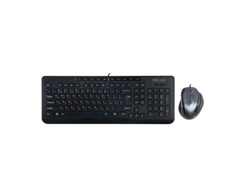 Клавиатура + Мышь Delux, DLD-6220OUB, USB, Анг/Рус/Каз, Оптическая Мышь, Черный