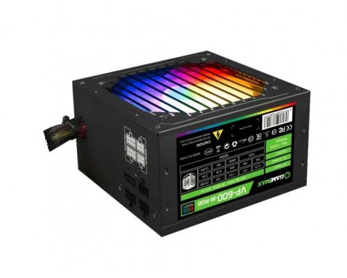 Блок питания Gamemax , VP-600-M-RGB, 600 W, Модульный. 1 Fan (120 мм), 20+4 pin, PCI-E x 1, SATA x 5