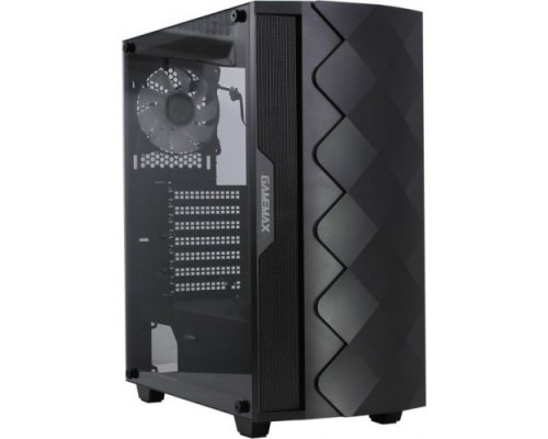 "Корпус Gamemax, Black Diamond, Panel ATX, 1x120mm ARGB, 3.5"" (HDD)x2, 2.5"" (SSD)x2, USB2.0x1, USB3.0"