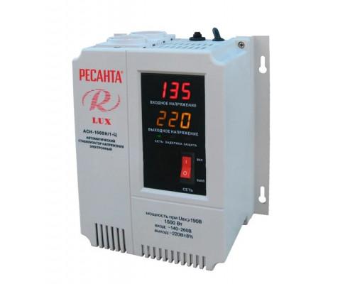 Стабилизатор напряжения Ресанта АСН-1500H, 1-Ц LUX, релейный, мощность 1.5кВт, 140-260В, настенный, Б