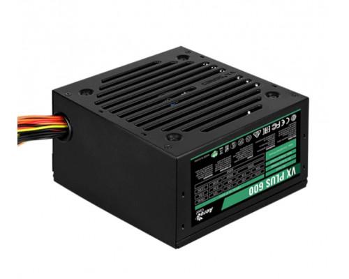 Блок питания AeroCool, VX600 PLUS, 600 W, 1 Fan (120 мм), 20+4 pin, PCI-E x 2, SATA x 4, IDE x 3